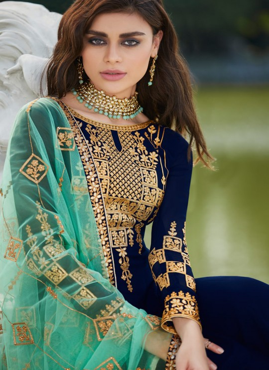 Blue Georgette Ceremony Wear Palazzo Suits Gota Pati Vol-2 7026 By Aashirwad Aash-7026