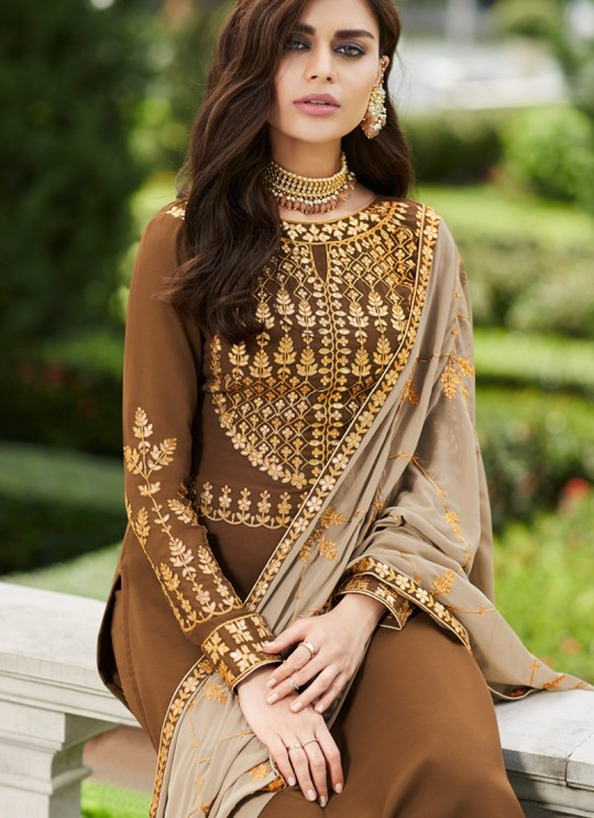 Brown Georgette Ceremony Wear Palazzo Suits Gota Pati Vol-2 7027 By Aashirwad Aash-7027