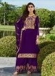 Purple Georgette Ceremony Wear Palazzo Suits Gota Pati Vol-2 7028 By Aashirwad Aash-7028