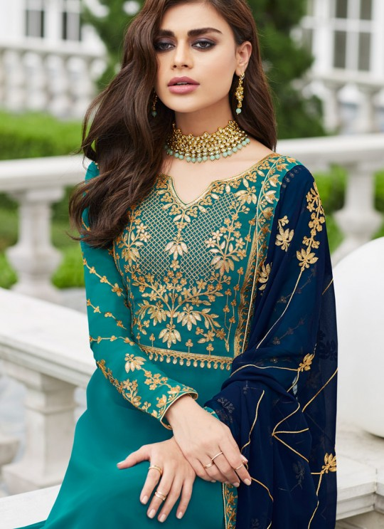 Firozi Georgette Ceremony Wear Palazzo Suits Gota Pati Vol-2 7029 By Aashirwad Aash-7029