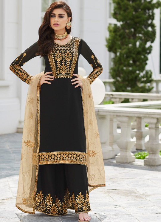 Black Georgette Ceremony Wear Palazzo Suits Gota Pati Vol-2 7030 By Aashirwad Aash-7030