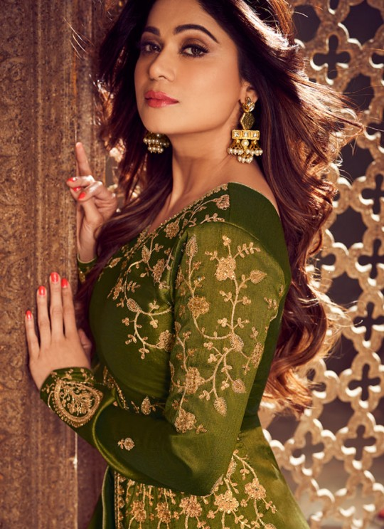 Green Mulberry Silk Embroidered Pakistani Suits For Eid Festival Gulkand Silk 8221 By Aashirwad Creation SC/015385