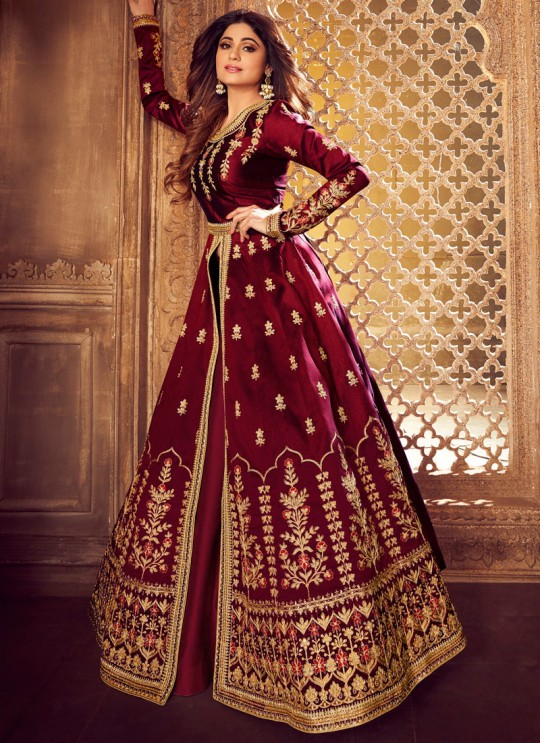 Maroon Mulberry Silk Embroidered Pakistani Suits For Eid Festival Gulkand Silk 8222 By Aashirwad Creation SC/015386