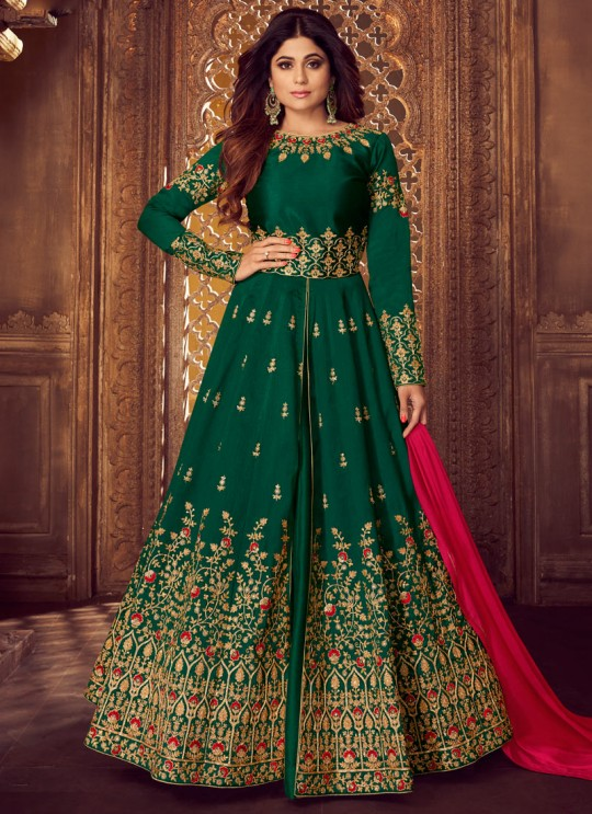 Green Mulberry Silk Embroidered Pakistani Suits For Eid Festival Gulkand Silk 8223 By Aashirwad Creation SC/015387