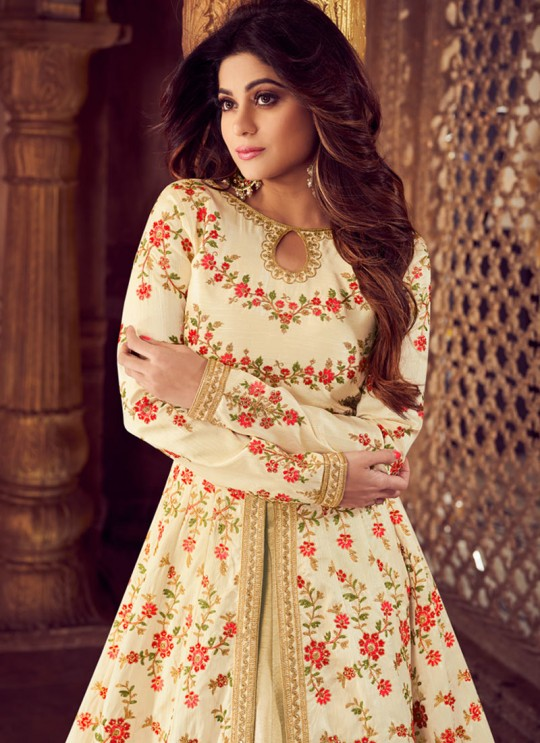 Cream Mulberry Silk Embroidered Pakistani Suits For Eid Festival Gulkand Silk 8224 By Aashirwad Creation SC/015388