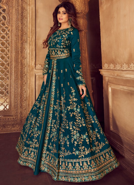 Teal Blue Mulberry Silk Embroidered Pakistani Suits For Eid Festival Gulkand Silk 8225 By Aashirwad Creation SC/015389