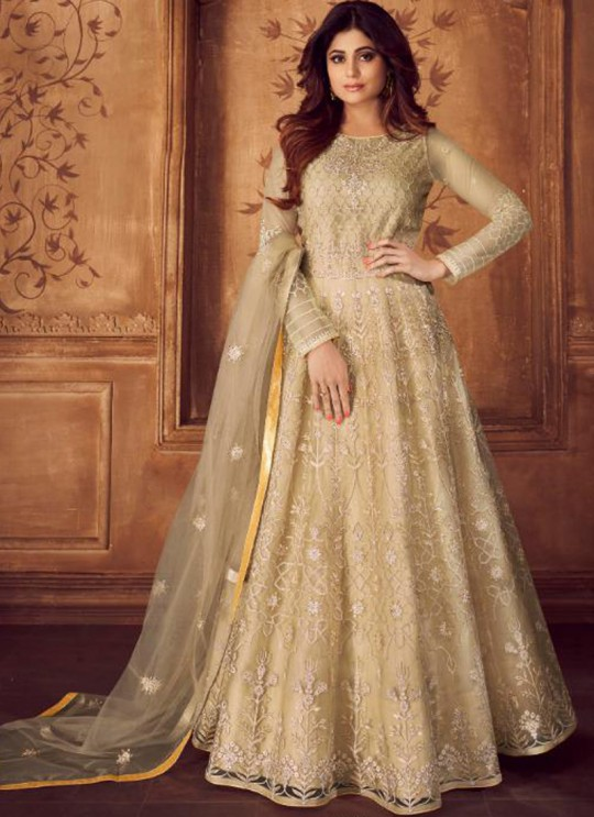Beige Net Embroidered Floor Length Anarkali Karigiri-02 8245 By Aashirwad