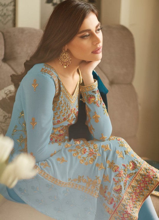 Frisky Georgette Party Wear Churidar Suit In Sky Blue Color Mbroidered 7001 By Aashirwad SC/016298