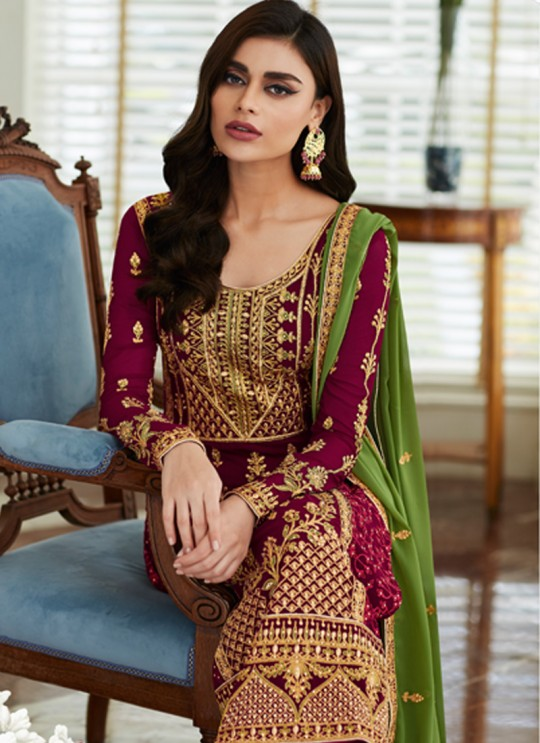 Pretty Georgette Party Wear Churidar Suit In Maroon Color Mbroidered 7002 By Aashirwad SC/016299