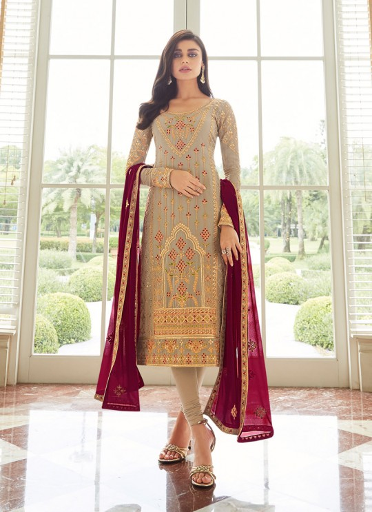 Lovely Georgette Party Wear Churidar Suits In Grey Color Mbroidered 7003 By Aashirwad SC/016300