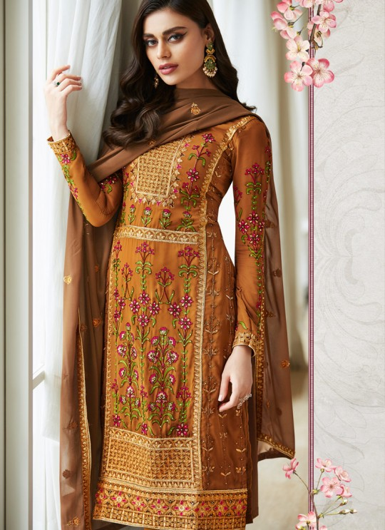 Fascinating Georgette Party Wear Churidar Suit In Gold Color Mbroidered 7004 By Aashirwad SC/016301