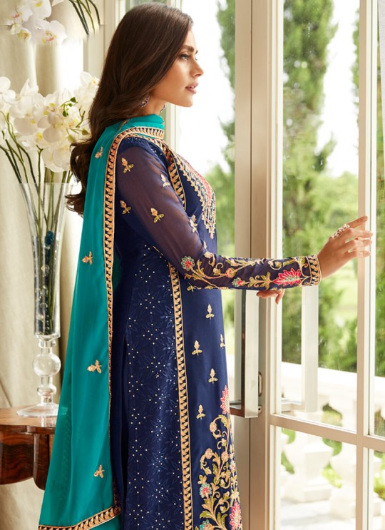 Fascinating Georgette Party Wear Churidar Suit In Blue Color Mbroidered 7005 By Aashirwad SC/016302