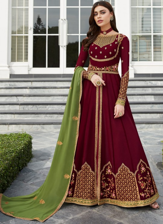 Maroon Georgette Festival wear Abaya Style Suits Nayra 7031 By Aashirwad SC/016400