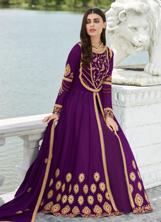 Purple Georgette Festival wear Abaya Style Suits Nayra 7033 By Aashirwad SC/016402