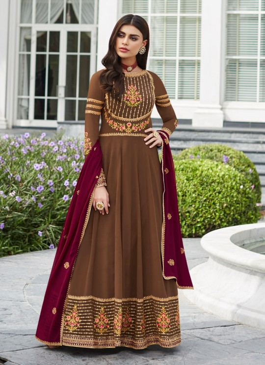 Brown Georgette Festival wear Abaya Style Suits Nayra 7034 By Aashirwad SC/016403