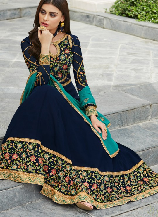 Royal Blue Georgette Festival wear Abaya Style Suits Nayra 7035 By Aashirwad SC/016404