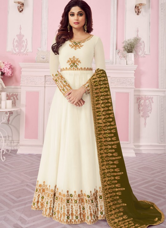 White Georgette Embroidered Abaya Style Anarkali Saanvi -2 8261 By Aashirwad