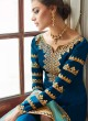 Alluring Satin Georgette Party Wear Churidar Suit In Royal Blue Color Sadaf 7011 By Aashirwad SC/016282
