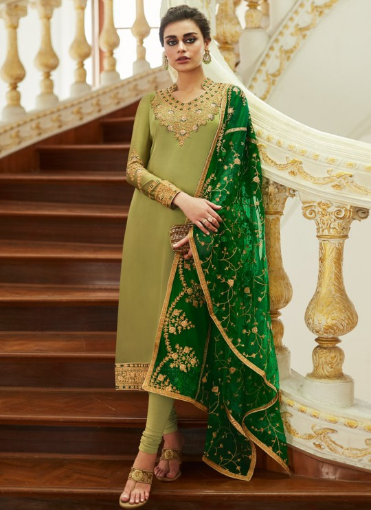 Delightful Satin Georgette Party Wear Churidar Suit In Green Color Sadaf 7013 By Aashirwad SC/016284