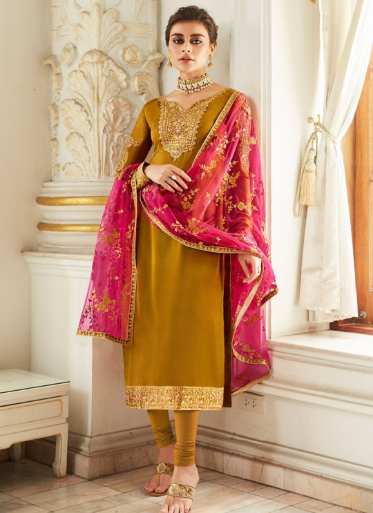 Exultant Satin Georgette Party Wear Churidar Suit In Gold Color Sadaf 7016 By Aashirwad SC/016286