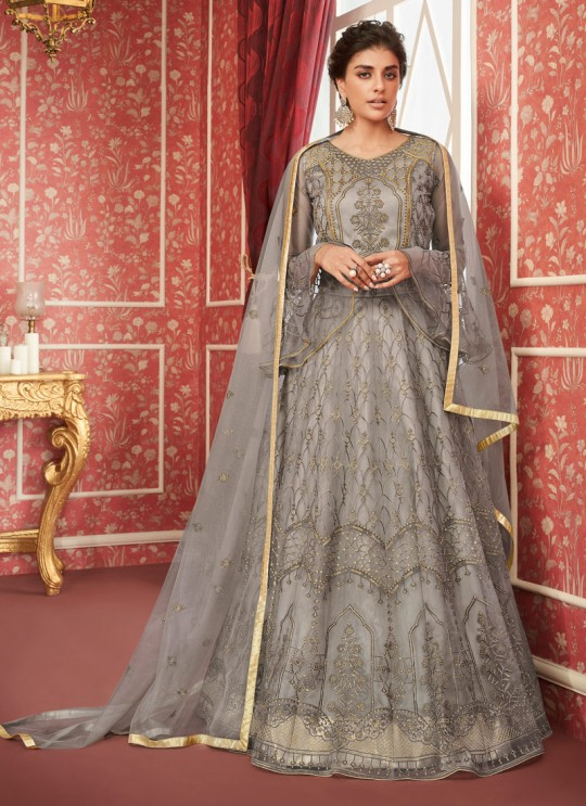 Grey Net Bridal Wear Skirt Kameez Sajda 8299 By Aashirwad Aash-8299