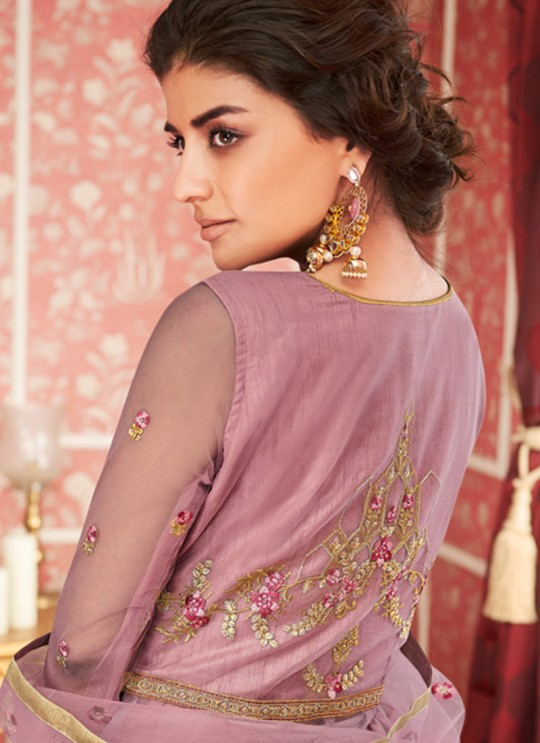 Purple Net Bridal Wear Skirt Kameez Sajda 8302 By Aashirwad Aash-8302