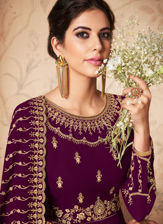 Magenta Georgette Embroidered Abaya Style Suits Saloni 8307 By Aashirwad