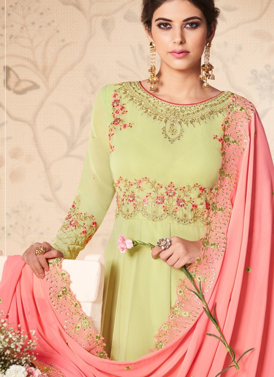 Pista Green Georgette Embroidered Abaya Style Suits Saloni 8308 By Aashirwad