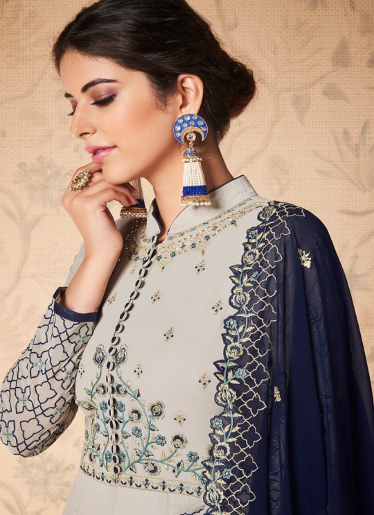 Grey Georgette Embroidered Abaya Style Suits Saloni 8309 By Aashirwad