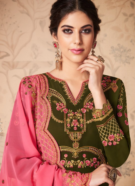 Green Georgette Embroidered Abaya Style Suits Saloni 8310 By Aashirwad