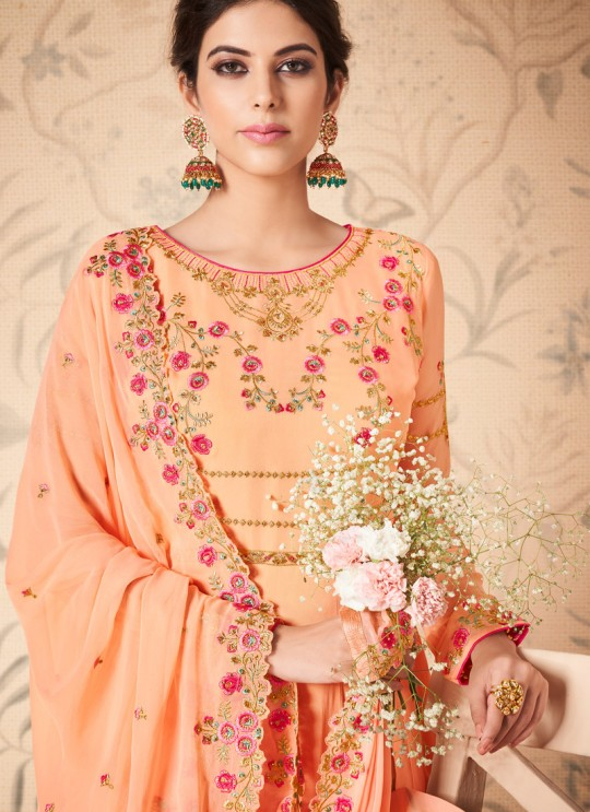 Peach Georgette Embroidered Abaya Style Suits Saloni 8311 By Aashirwad