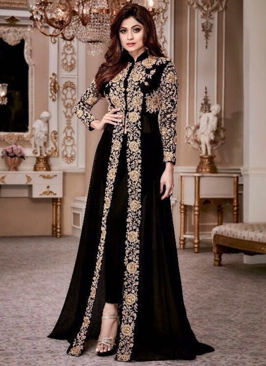 Georgette Party Designer Suit In Black Color shamita Gold 8001A SC/006659