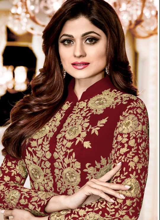 Georgette Party Designer Suit In Maroon Color shamita Gold 8001D SC/006662