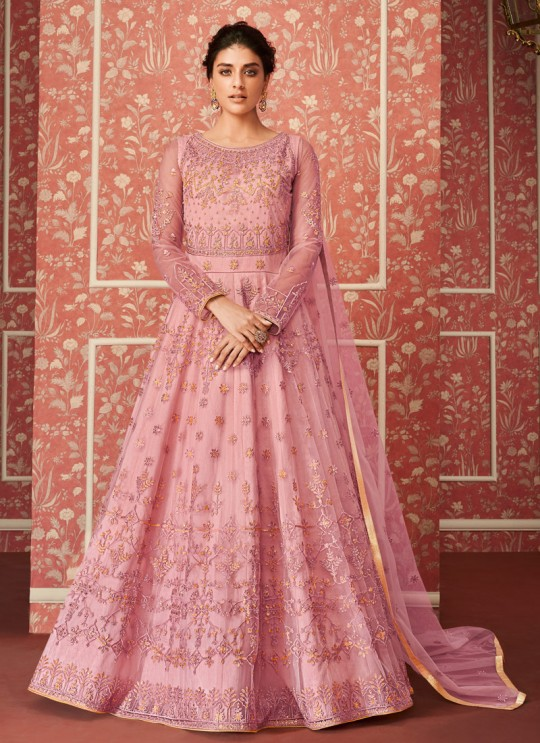 Blithesome Net Wedding Wear Floor Length Anarkali In Pink Color Wedding 8303 By Aashirwad SC/016312