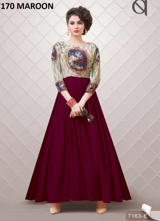 Maroon Georgette Printed Party Wear Gown Blush Vol 10 NX 7170 Colors 7170C Color By Bansi SC/002879