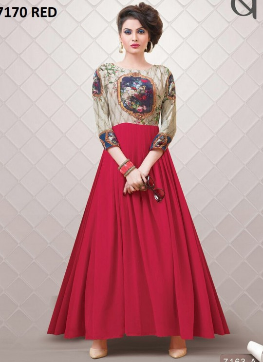 Red Georgette Printed Party Wear Gown Blush Vol 10 NX 7170 Colors 7170A Color By Bansi SC/002877