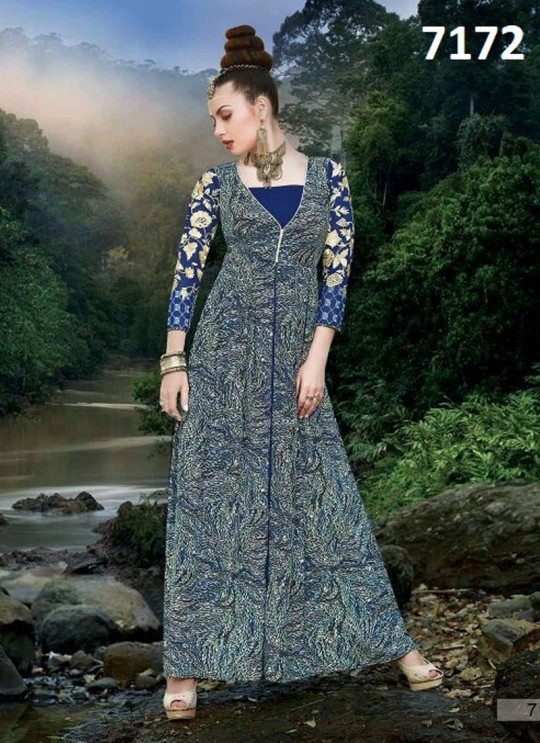 Blue Silk Crape Printed Party Wear Gown Blush Vol 12 7172 By Bansi SC/003024