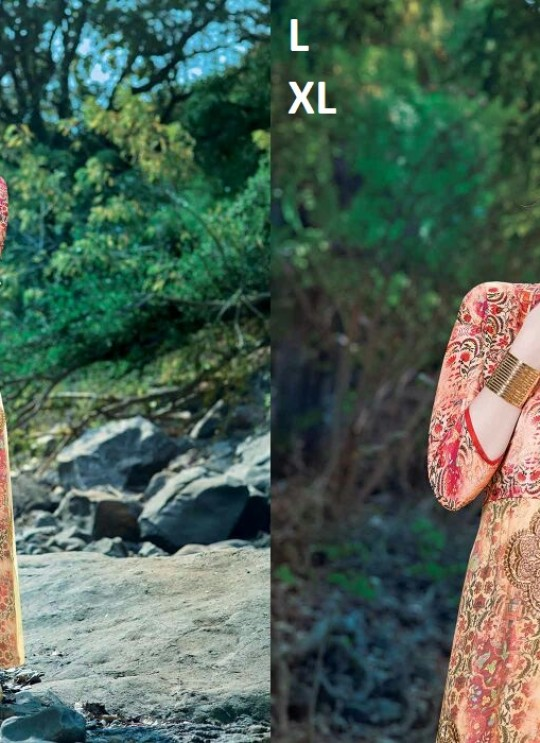 Multicolor Silk Crape Printed Party Wear Gown Blush Vol 14 7173 By Bansi SC/003025