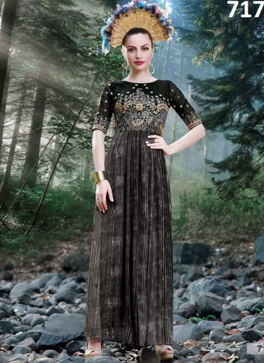 Black Georgette Printed Party Wear Gown Blush Vol 20 7177 By Bansi SC/003020