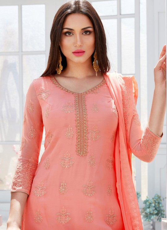 Pink Georgette Embroidered Garara Suits For Bridesmaids Saleha 495 By Bela Fashion SC/015263