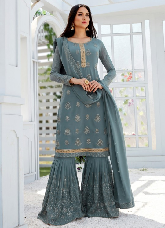Grey Georgette Embroidered Garara Suits For Bridesmaids Saleha 496 By Bela Fashion SC/015264