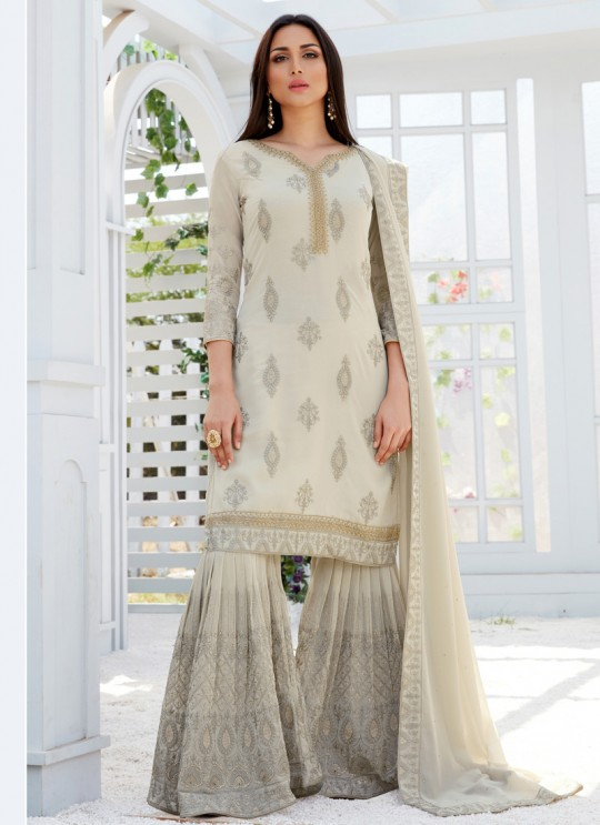 Beige Georgette Embroidered Garara Suits For Bridesmaids Saleha 497 By Bela Fashion SC/015265
