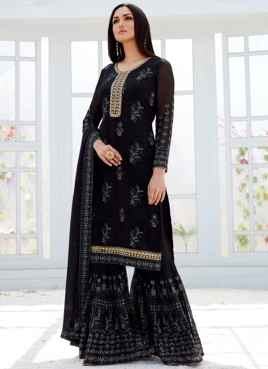 Black Georgette Embroidered Garara Suits For Bridesmaids Saleha 498 By Bela Fashion SC/015266