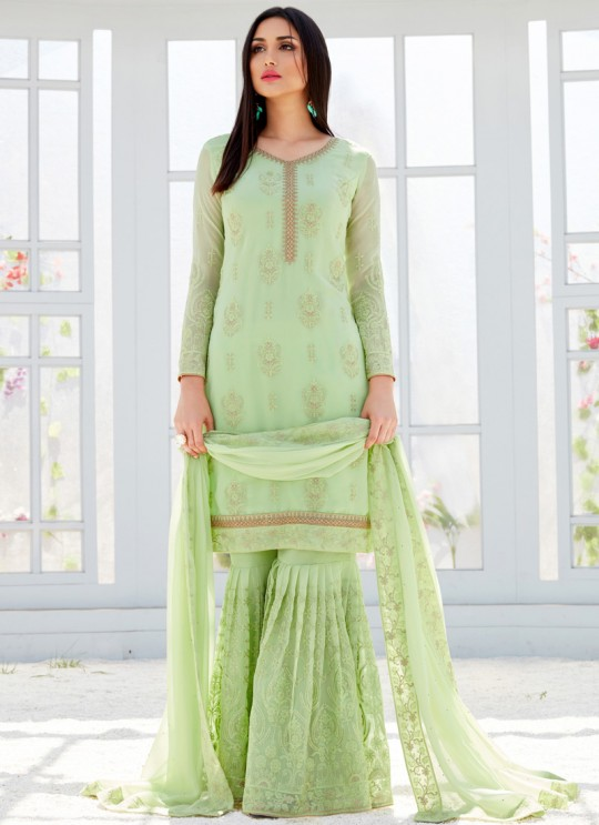 Green Georgette Embroidered Garara Suits For Bridesmaids Saleha 499 By Bela Fashion SC/015267