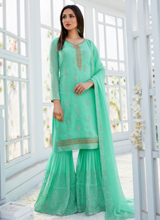 Sea Green Georgette Embroidered Garara Suits For Bridesmaids Saleha 502 By Bela Fashion SC/015270