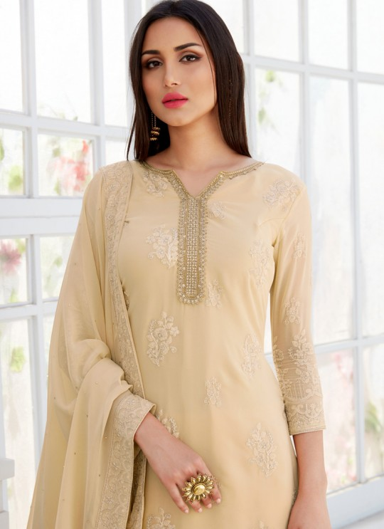 Beige Georgette Embroidered Garara Suits For Bridesmaids Saleha 503 By Bela Fashion SC/015271