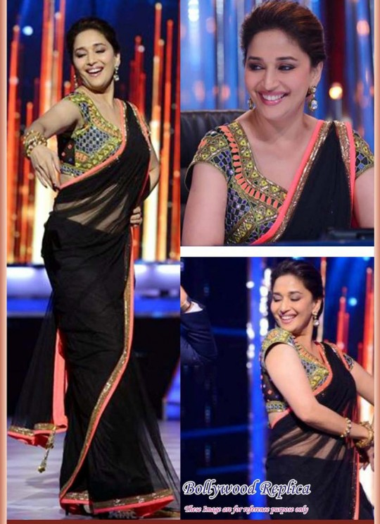 Madhuri Dixit Black Net Embroidered Bollywood Style Saree 103