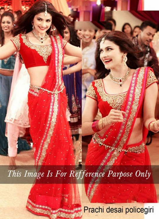 Red Net Diamond Work And Embroidered Prachi Desai Bollywood Style Saree 102