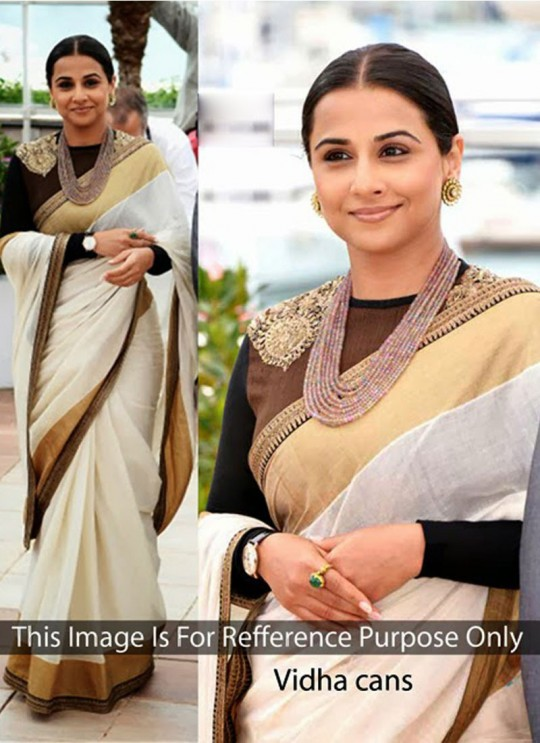 Vidya Balan Offwhite Cotton Silk Bollywood Style Saree 202