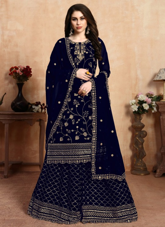 Embroidered Blue Wedding Palazzo Suit Aanaya Vol 104 Dani Creation 403